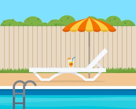 Salón con el paraguas cerca de la piscina en el patio trasero de la casa. ilustración vectorial de estilo plano.