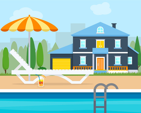 sunbath: Lounge with umbrella near the pool. Big house villa. Flat style vector illustration.