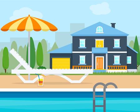 villa: Lounge with umbrella near the pool. Big house villa. Flat style vector illustration.