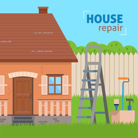 家の修理。改修のためのツールとはしご。フラット スタイルのベクトル図です。