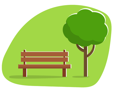 streetlamp: Bench with cup and books under a tree in the park. Flat style vector illustration.