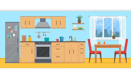 Kitchen with furniture set. Cozy kitchen interior with table, cupboard and dishes. Flat style vector illustration.