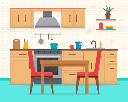 drawing board: Kitchen with furniture set. Cozy kitchen interior with table, cupboard and dishes. Flat style vector illustration.
