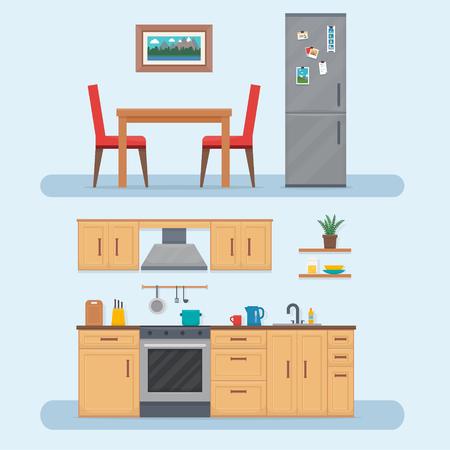 キッチン家具のセット。テーブル、食器棚、料理と居心地の良いキッチン インテリア。フラット スタイルのベクトル図です。