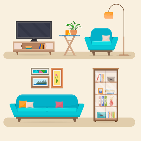 cozy: Living room with furniture. Cozy interior with sofa and tv. Flat style vector illustration. Illustration