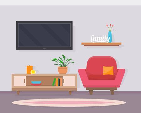 pokój dzienny z meblami. Przytulne wnętrza z sofą i telewizorem. Płaski ilustracji wektorowych stylu.