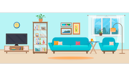 sofa furniture: Living room with furniture. Cozy interior with sofa and tv. Flat style vector illustration. Illustration