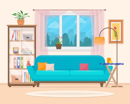 Salotto con mobili. interni accoglienti con divano e tv. Piatto stile illustrazione vettoriale. Vettoriali