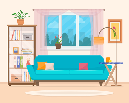 Living room with furniture. Cozy interior with sofa and tv. Flat style vector illustration. Stock Illustratie