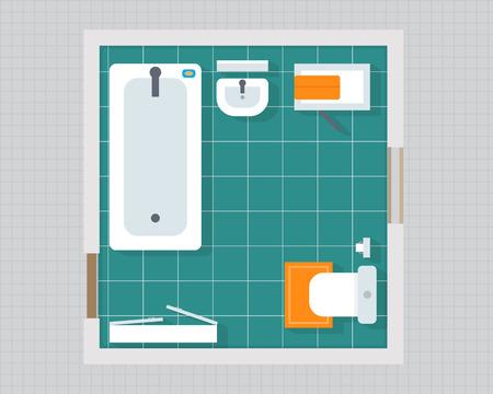 家具オーバーヘッドの上面とバスルーム。アパート計画。フラット スタイルのベクトル図です。
