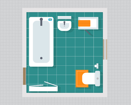 overhead view: Bathroom with furniture overhead top view. Apartment plan. Flat style vector illustration.