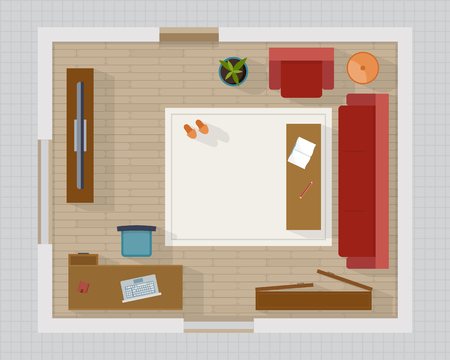Living room with furniture top view. Cozy interior with sofa and tv. Flat style vector illustration. Illustration