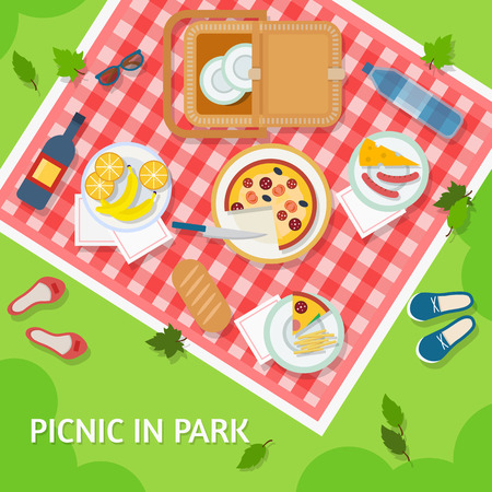 wooden shoes: Picnic in park with a basket, food and cutlery on red gingham, top view. Flat style vector illustration. Illustration