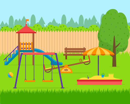 Kids playground set. Icons with kids swings and objects. Flat style vector illustration. Vettoriali