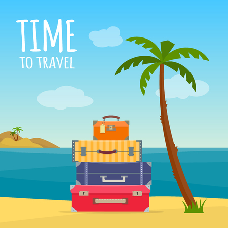 Baggage, luggage, suitcases with travel icons and objects on tropical background. Flat style vector illustration. Illustration
