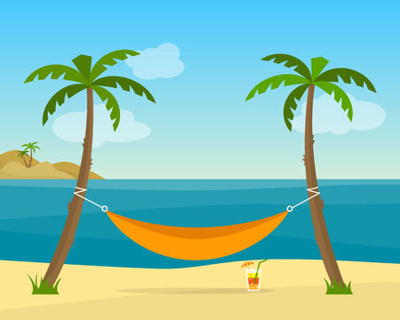 Hammock with palm trees on beach. Cocktail near the hammock. Tropical background with sea. Flat style vector illustration. Illustration