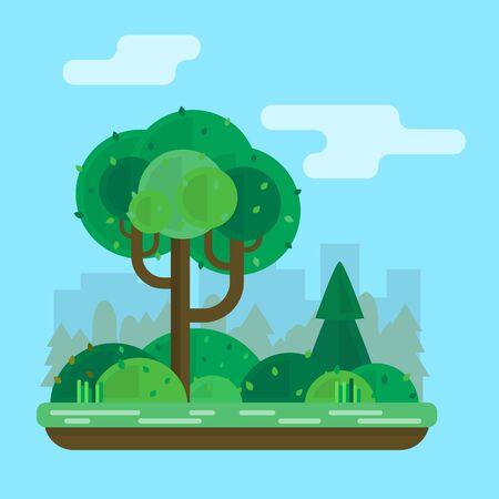 streetlamp: Tree in the park. Flat style vector illustration. Illustration