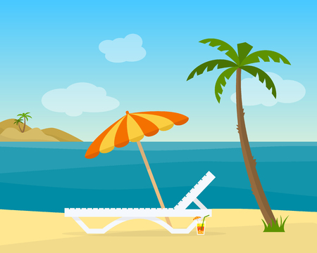 Lounge on the beach under a palm tree. Beach chair with sea on tropical background. Flat style vector illustration. Illustration
