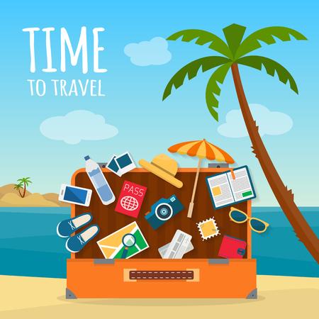 bagagli: Bagaglio, bagagli, valigie con le icone di viaggio e oggetti su sfondo tropicale. Piatto stile illustrazione vettoriale.