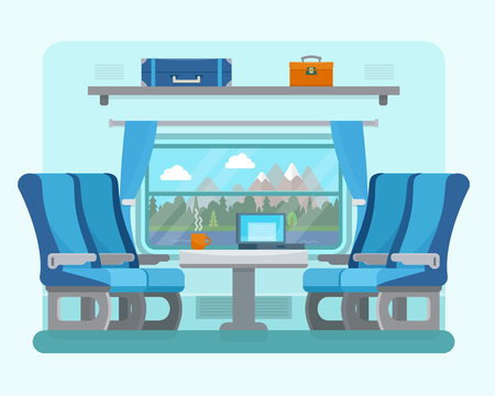 train table: Passenger train inside. Seat in railway transport. Travel and transportation by train. Flat style vector illustration.