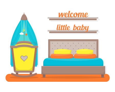 room wall: Bedroom with parents bed and baby cot. Nursery interior. Welcome, little baby. Flat style vector illustration. Illustration
