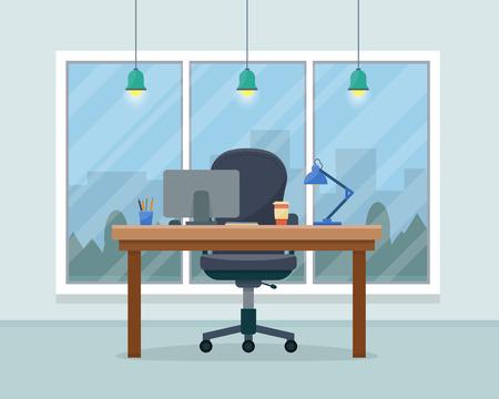 事務所の職場。ワークスペースのテーブルと大きな窓を持つコンピューター キャビネット。大ボスの事務所。フラット スタイルのベクトル図です。