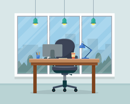 office cabinet: Workplace in office. Cabinet with workspace with table and computer with big window. Big boss office. Flat style vector illustration.
