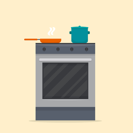 furnace: Stove in kitchen. Oven with dishes. Flat style vector illustration.