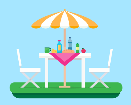Outdoor picnic in park. Table with chairs and umbrella. Flat style vector illustration.
