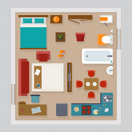 Detailed apartment furniture overhead top view. Apartment room plan. Flat style vector illustration. Stock Illustratie