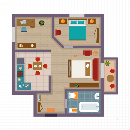 Detailed apartment furniture overhead top view. Apartment room plan. Flat style vector illustration. Çizim
