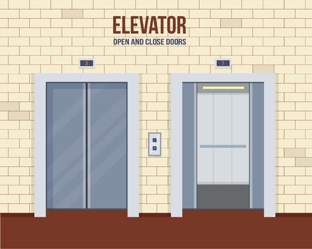エレベーターのドア開閉。フラット スタイルのベクトル図です。