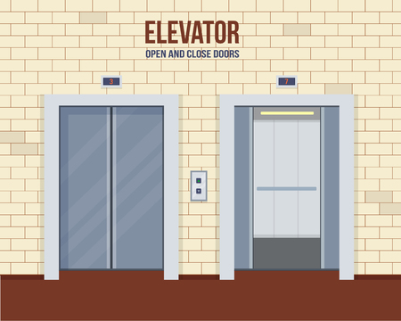 Elevator doors, open and close. Flat style vector illustration.