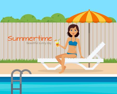 backyard: Girl in swimsuit on lounge with umbrella near the pool on house backyard. Flat style vector illustration. Illustration