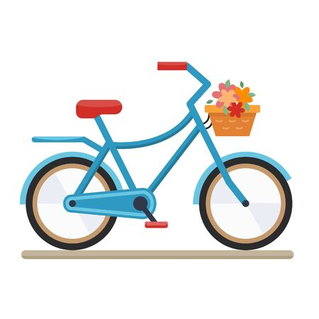 velocipede: Woman bike. Bicycle on white background.Flat style vector illustration.