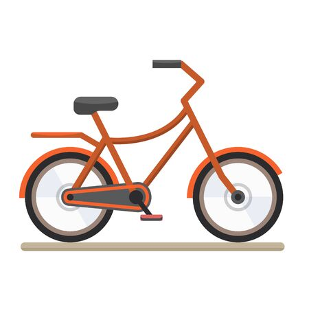 velocipede: Red bike. Bicycle on white background. Flat style vector illustration. Illustration