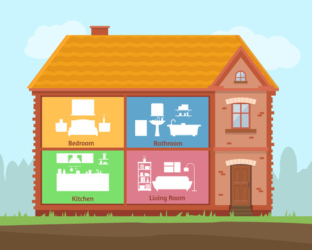 house illustration: House in cut. Detailed modern home interior. Rooms with furniture. Flat style vector illustration.