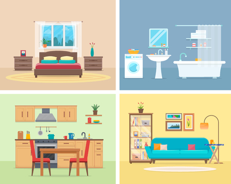 Apartment inside. Detailed modern house interior. Rooms with furniture. Flat style vector illustration.