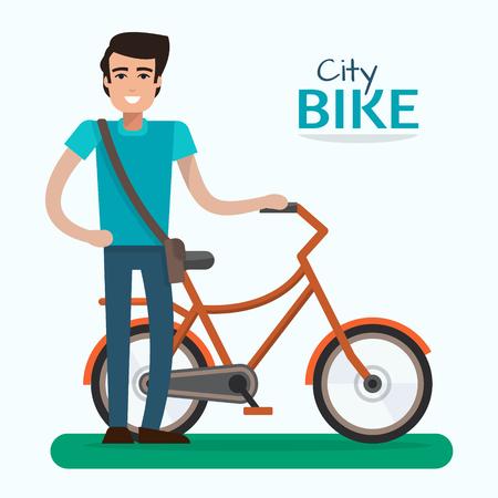 salud publica: Hombre en la bici. Bicicleta en el fondo azul. ilustración vectorial de estilo plano.