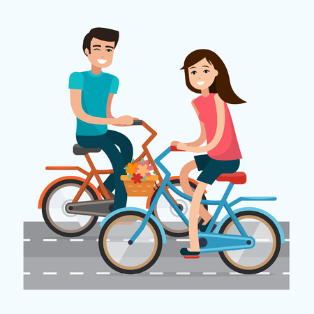 salud publica: Man and woman with bike. Travel with bicycle. Flat style vector illustration.