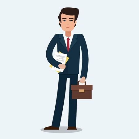 Businessman in office. Worker with suitcase. Flat style vector illustration.