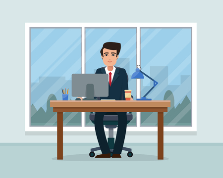 Businessman in workplace in office. Worker with suitcase in cabinet with workspace with table and computer with big window. Big boss office. Flat style vector illustration.
