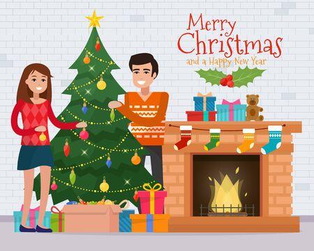 fireplace family: Family decorating christmas tree near fireplace. Christmas room interior. Christmas tree and decoration. Gifts and fireplace. Flat style vector illustration. Illustration