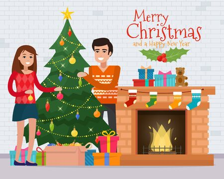 Family decorating christmas tree near fireplace. Christmas room interior. Christmas tree and decoration. Gifts and fireplace. Flat style vector illustration. Illustration