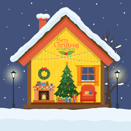 cutaway drawing: Christmas house in cut with snow. House interior with a furniture, fireplace, christmas tree, gifts, lights, decorations. Flat style vector illustration.