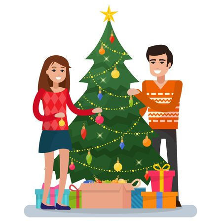 Family decorating christmas tree. Christmas room interior with love couple and gifts. Cozy home holiday. Flat style vector illustration. Vetores