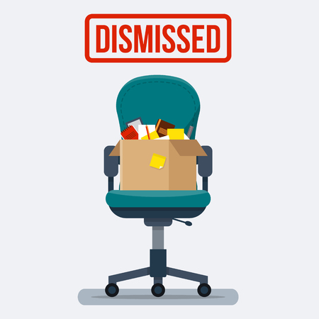 job icon: Business chair with box with office things. Dismissed. Fired from job. Flat style vector illustration.