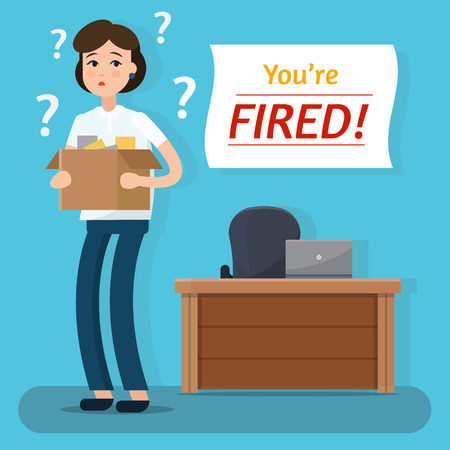 resign: Dismissed woman. Fired from job. Box with office things. Flat style vector illustration.