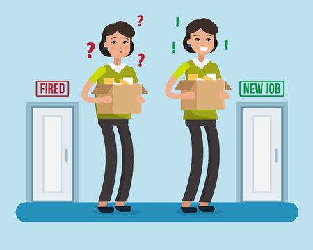 unemployed dismissed: Dismissed woman. Fired from job. New job. Box with office things. Flat style vector illustration.