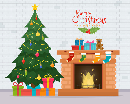 Christmas room interior. Christmas tree and decoration. Gifts and fireplace. Flat style vector illustration. Çizim